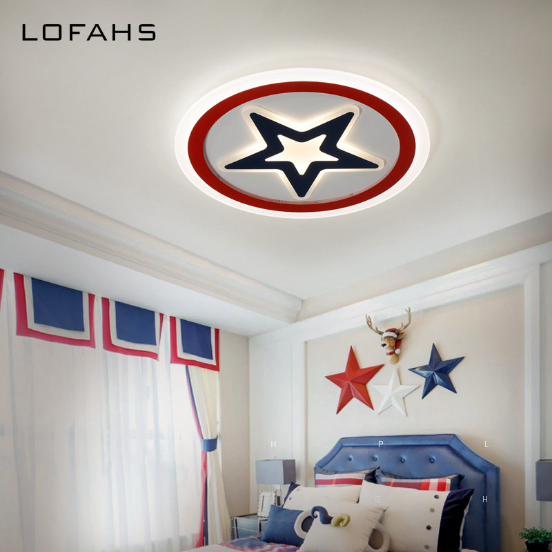 LOFAHS Modern LED ceiling lights for Child's room bedroom with remote control acrylic Five pointed star ceiling lamp fixtures noosion modern led ceiling lamp for bedroom room black and white color with crystal plafon techo iluminacion lustre de plafond