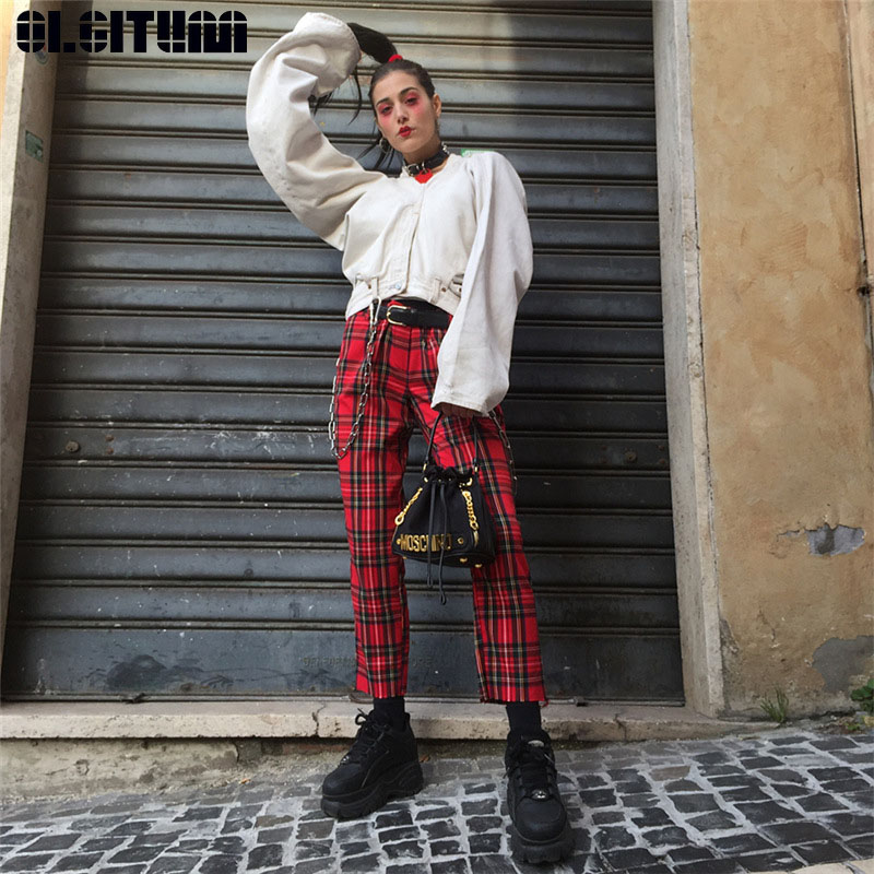 New Red Plaid Pants Women Casual High Waist Zipper Fly Skinny Long Pencil Lady Elastic Trousers Slim Cotton Wide Leg Pants PT231