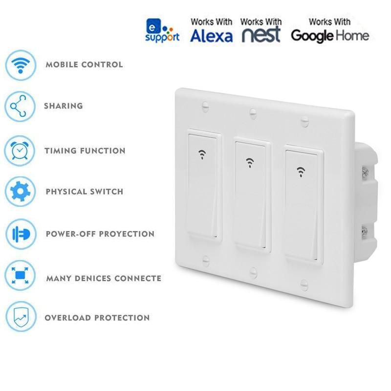 Commutateur intelligent de lumière de mur de WiFi de 3 gangs le panneau des usa fonctionne avec la lumière à télécommande de voix de vie intelligente de domotique de Google d'alexa IFTTT