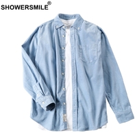 SHOWERSMILE Casual Blue Long Sleeve Corduroy Shirt Male Slim Fit Mens Vintage Shirts Spring Autumn High