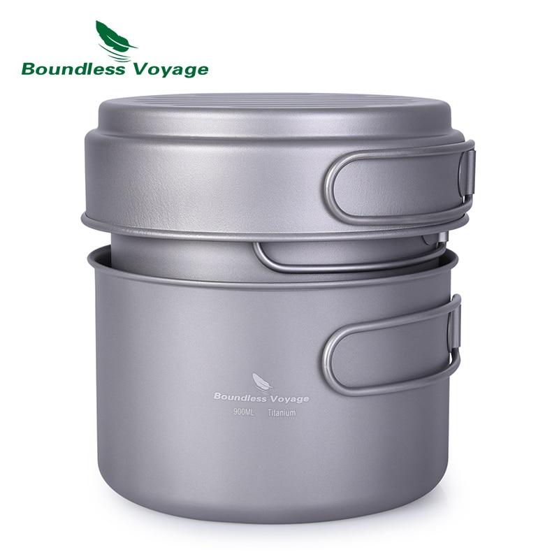 Boundless Voyage Titanium Pot Pan Set with Folding Handle Outdoor Camping Picnic Backpacking Soup Bowl Frying