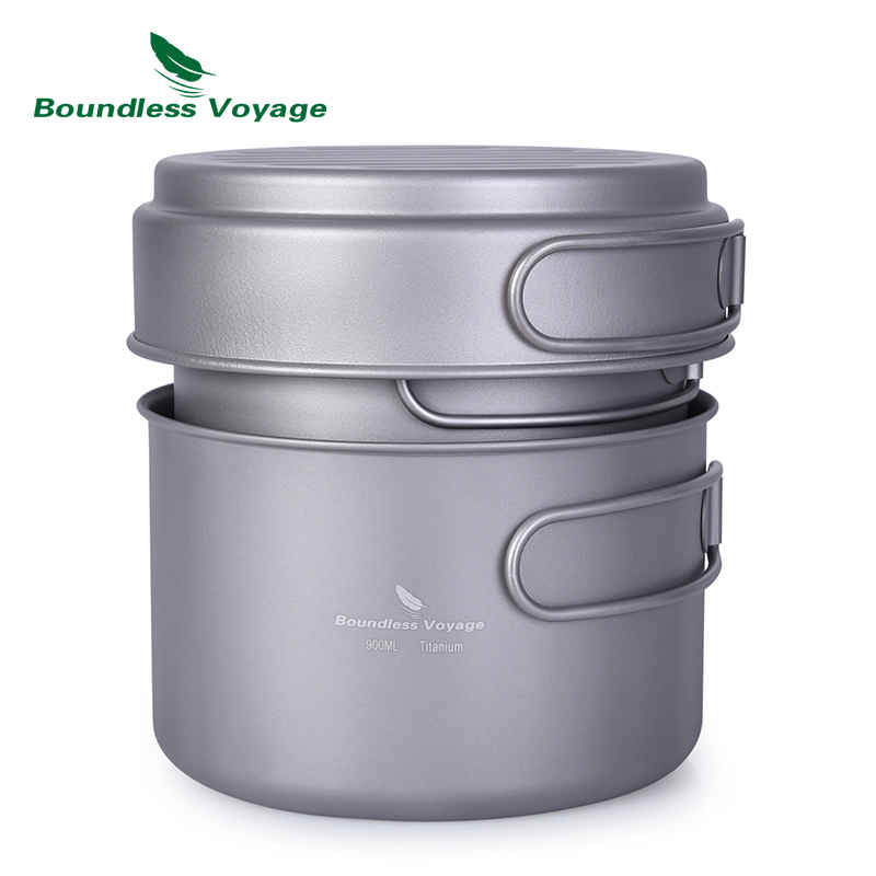 Boundless Voyage Titanium Pot Pan Set with Folding Handle Outdoor Camping Picnic Backpacking Soup Bowl Frying Pan Mess Kit стоимость