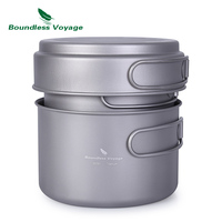 Boundless Voyage Titanium Pot Pan Set with Folding Handle Outdoor Camping Picnic Backpacking Soup Bowl Frying Pan Mess Kit