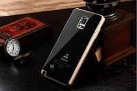 Gorila originais de Luxo 9 H Dureza Premium Vidro Temperado Tampa Traseira de Metal de Alumínio Bumper Case Para Samsung Galaxy Note 4 N9100