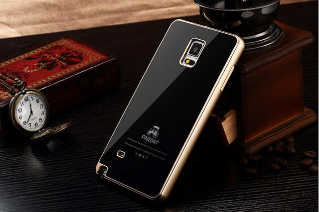 best website 7339b 41731 US $20.39 20% OFF|Original Luxury 9H Hardness Gorilla Tempered Glass Back  Cover Premium Metal Aluminum Bumper Case For Samsung Galaxy Note 4 N9100-in  ...