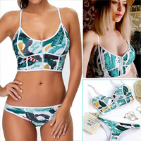 Women Sexy Bikini Zipper High Neck Floral Bikini Swimsuit Biquini Women Brazilian Thong Swimsuit Bathing Suit