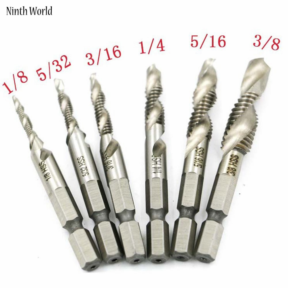 цена на Drill Tap Combination Bit Deburr Countersink Screw Hole 1/4 Hex Shank 6 Pieces 1/8'' - 3/8''