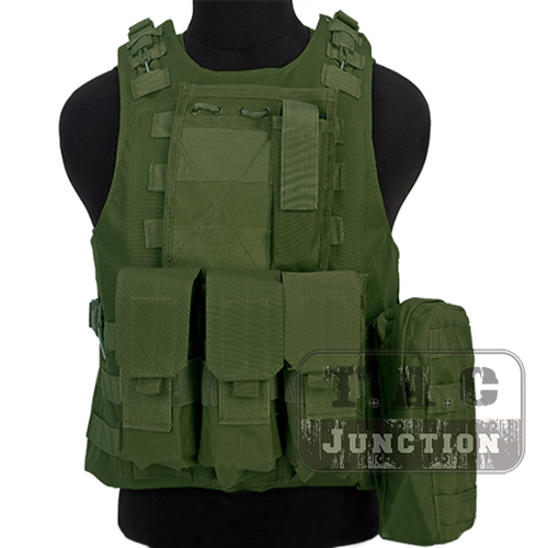 Tactical USMC MOLLE Olive Drab Plate Carrier Quick Release Amphibious Combat Assault Body Armor Vest w/ M4/AK Magazine Pouches ultimate arms gear dark earth tan tactical scenario military hunting assault vest w right handed quick draw pistol holster and heavy duty mag pouch belt od olive drab green 2 5 liter 84 oz replacement hydration backpack water bladder reservoir in