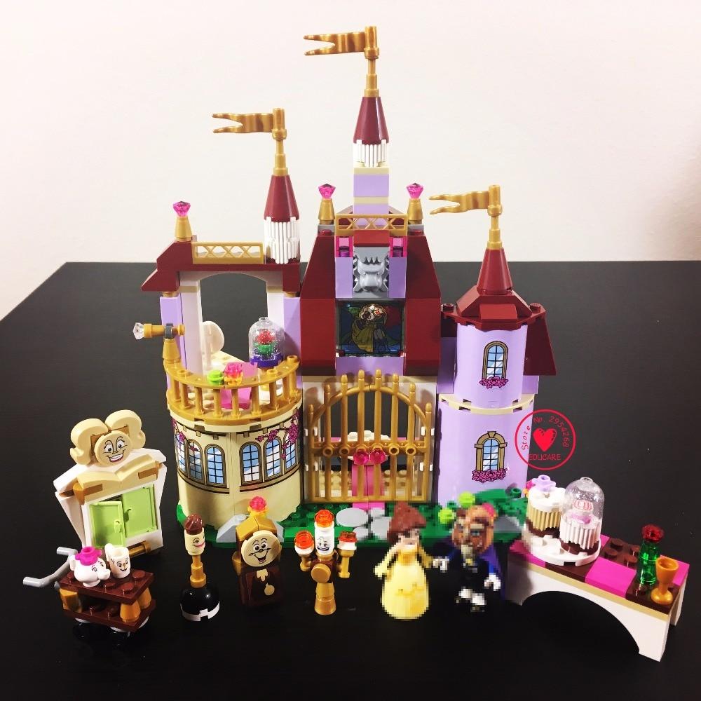 Új hercegnő Belles elvarázsolt kastély illik legoings hercegnő barátok figurák modell építőelemek tégla lányok diy játékok ajándék gyerek