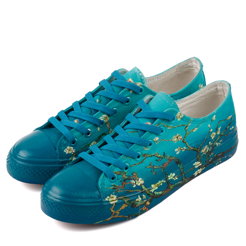 E-LOV Brand Hand Painted The Beautiful Almond Tree Canvas Shoes Lace-up Casual Walking Shoes Custom Design Valentine Gifts e lov design hand painted couples lovers canvas shoes custom women flats casual shoe espadrilles graffiti leo horoscope