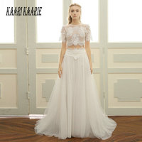 Sexy White Long Wedding Dress 2019 Ivory Wedding Gowns Two piece separate O Neck Lace Tulle Appliques Beach Women Bride Dresses