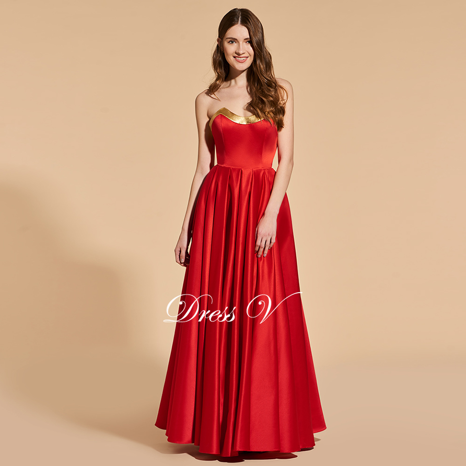 Dressv elegant red long prom dress strapless empire waist simple a ...