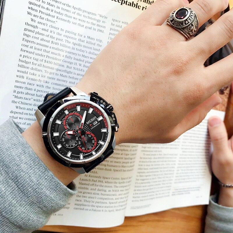 MEGIR Creative Brand Sports Watches Men Fashion Casual Leather Strap Waterproof Quartz Wristwatches Clock Male Relogio Masculino megir men creative fashion quartz wristwatches luxury top brand waterproof sports watches leather strap clock relogio masculino