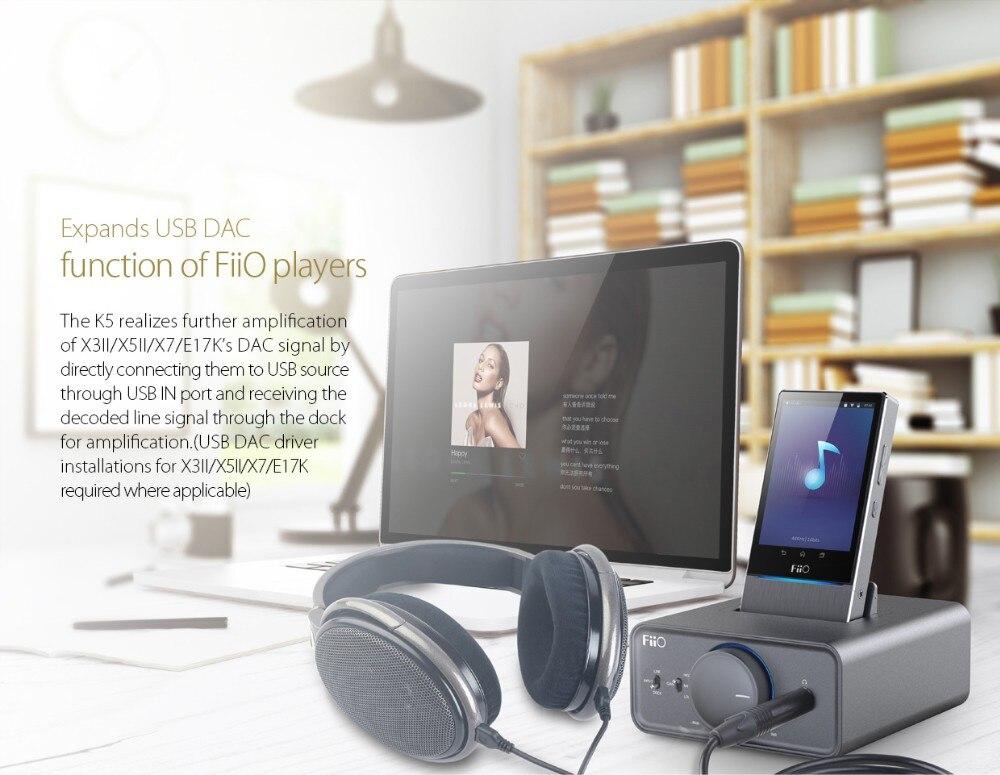 Brand New FIIO K5 Docking Headphone Amplifier for Fiio E17K and X Series  Music Player X1, X3II, X5 II, X7