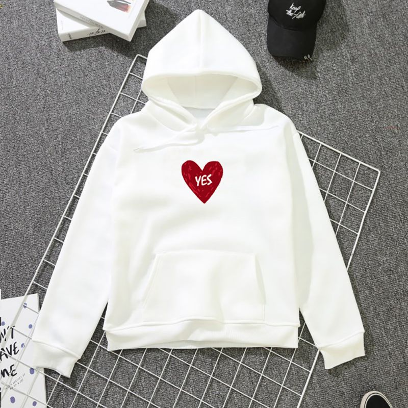 Couples Women Autumn Winter Warm Long Sleeve Sweet Heart-shape Print Thickening Plus Velvet Loose Hooded Tops