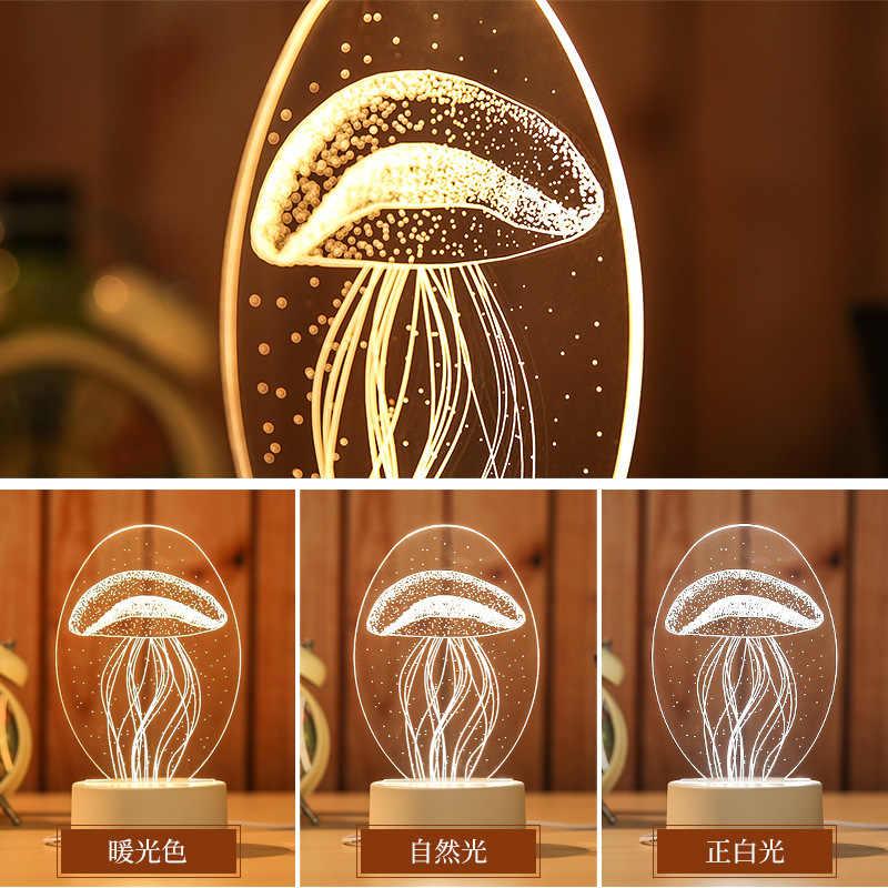 Lampa stołowa led 3D Jellyfish sowa lampka nocna ABS + żywica lampa multi-design dla dzieci sypialnia prezent miłość niedźwiedź światło