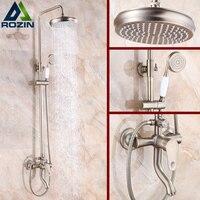 Newly Antique Bronze Shower Faucet Set Single Handle Brass Mixer Valve 8 Rainfall Shower Head + tub Spout + hand shower