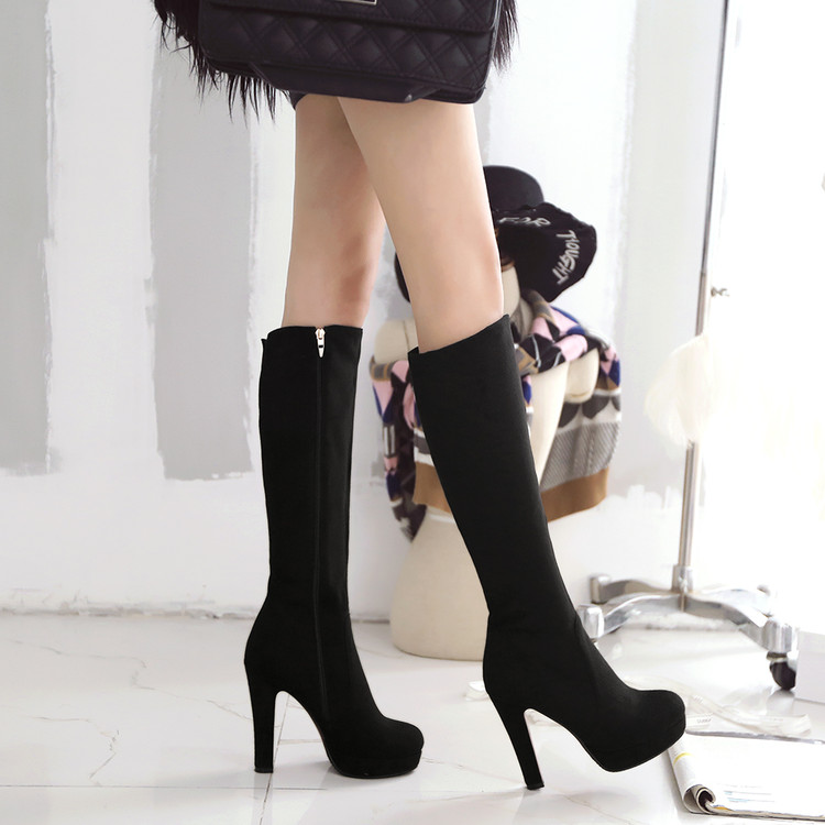 ФОТО Plus size plus size side zipper thick heel high-heeled shoes customize big drum female shoes boots high-leg free shipping