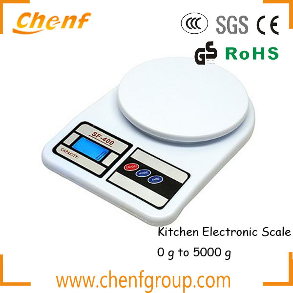 1 Pc Digital Kitchen Scale 1g To 5kg Sf 400 Abs Plastic Lcd Large Capacity