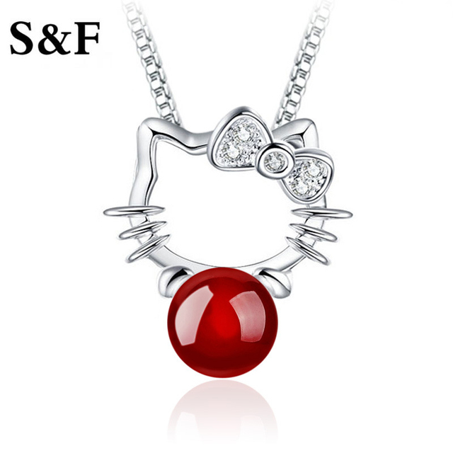 f9ab66da9 Lovely Hello Kitty Shaped Silver Necklaces & Pendants Girls Birthday Gift  New collares mujer Children Anti