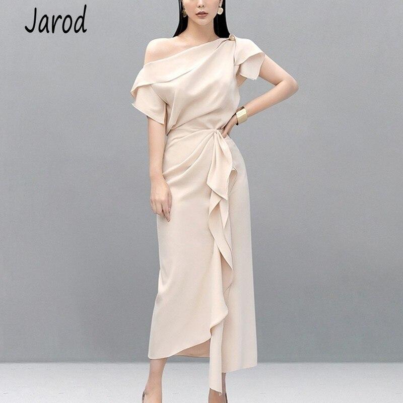 New 2019 Runway Fashion Summer 2 Pcs Set Elegant Women's One Shoulder Sexy Crop Tops + High Waist Ruffles Long Skirts Set