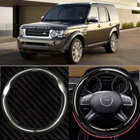 15 Black High Quality Carbon Fiber Leather Steering Wheel Cover For Land Rover Discovery4 Range Rover