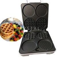 Home Multi Functional Waffle Machine Breakfast Machine Four Hole Breakfast Machine 1000W Muffin Machine 1PC