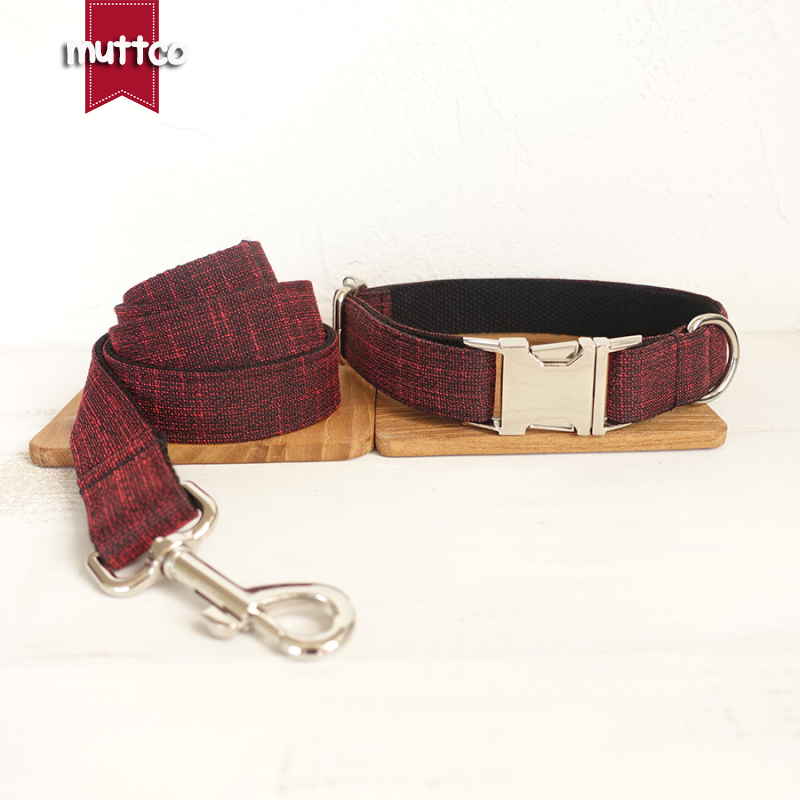 MUTTCO retailing handsome handmade modern dog accessories THE RED SUIT unique design dog collars and leashes set 5 sizes UDC006