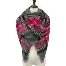 2016 Winter Autumn scarf Knit oversize blanket tartan plaid stole Designer Women Bandana Acrylic scarf shawl 140x140cm wrap