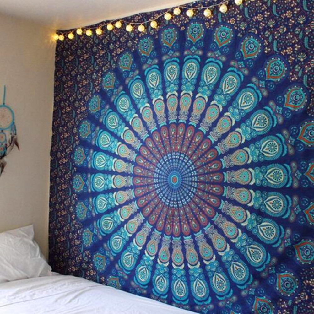 Indian Mandala Tapestry Hippie Peacock Feather Wall Hanging Bohemian Bedspread 1