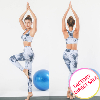 New yoga clothes suit women Printed vest trousers two sets of yoga clothes sports Europe and the United States fitness clothes