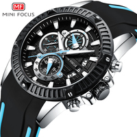 MINI FOCUS Fashion Military Sport Watch Quartz Silicone Chronograph Wrist Waches Men Waterproof Calendar reloj masculino 2018