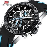 MINI FOCUS Fashion Military Sport Watch Quartz Silicone Chronograph Wrist Waches Men Waterproof Calendar reloj masculino 2018