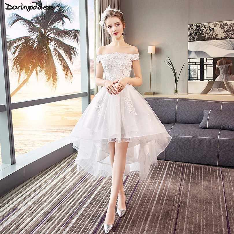 6848556ae8869be Халат де mariée элегантный короткое спереди и длинное сзади Свадебное платье  с открытыми плечами короткий рукав