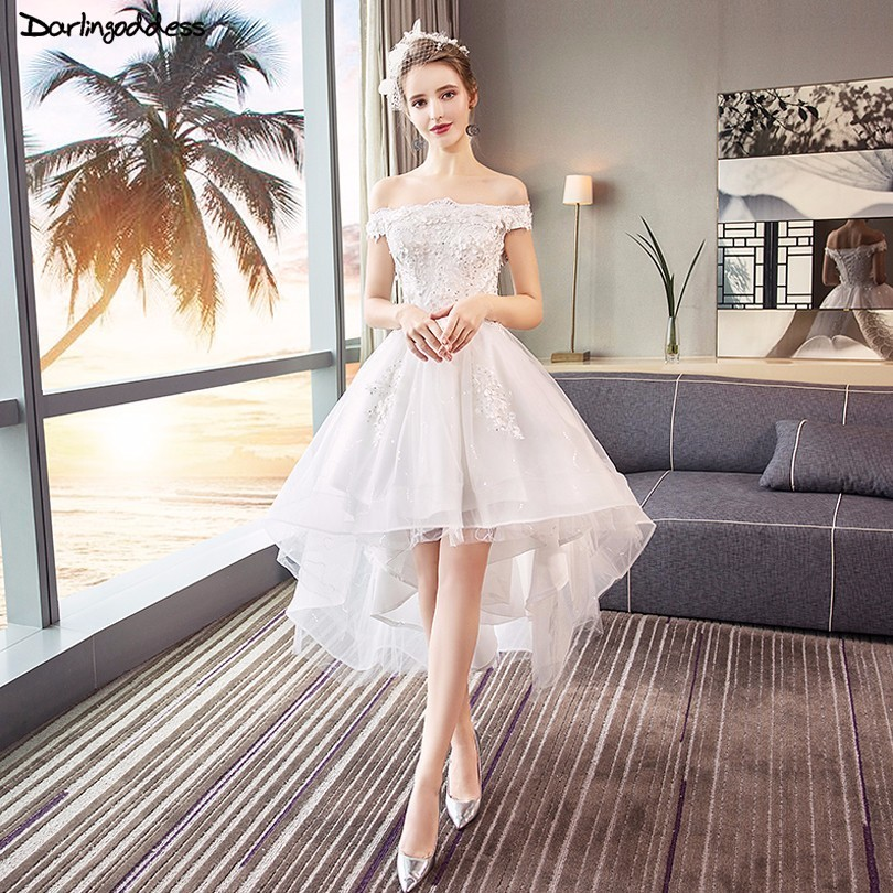Robe De Mariee Elegant Short Front Long Back Wedding Dress