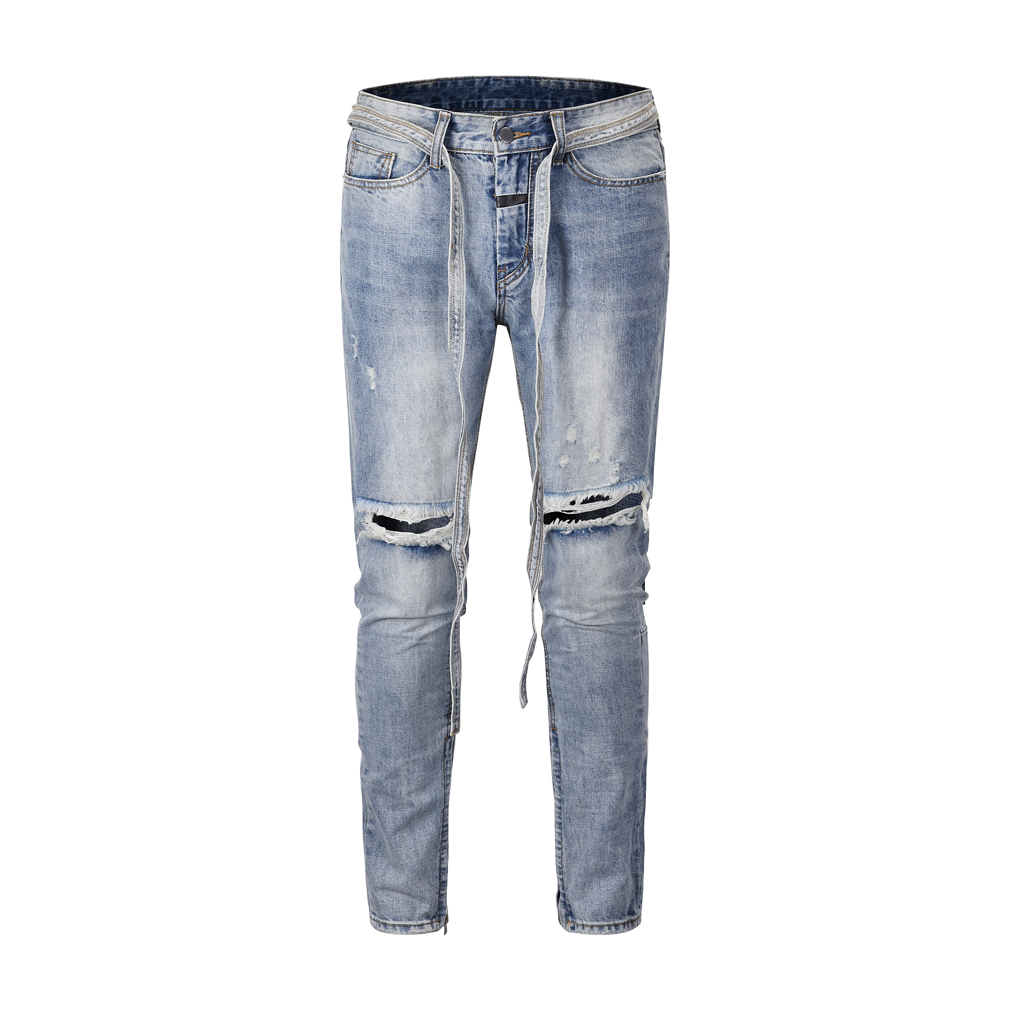 QoolXCWear High Street Jeans Men Hole Damaged Distressed Blue Jeans Ankle Zipper Long Denim Belt Jeans Men  Pants