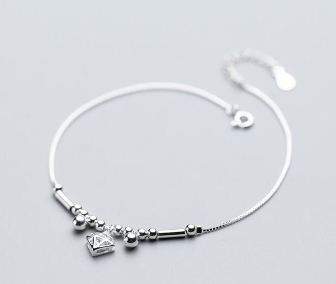 100% Authentic Real. 925 Sterling Silver Fine Jewelry Geometric &Lucky Round Beads Tube Tassel Anklet Bracelet GTLS693