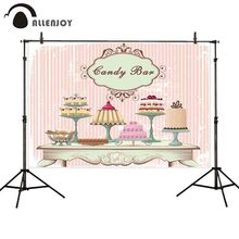 Allenjoy toile de fond pour studio photographique vintage mode table différents gâteaux chair rose rayure fond bonbon barre photocall