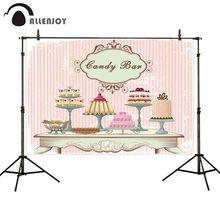 Allenjoy רקע לסטודיו צילום בציר אופנה שולחן שונה עוגות בשר ורוד פס רקע ממתק שיחת וידאו