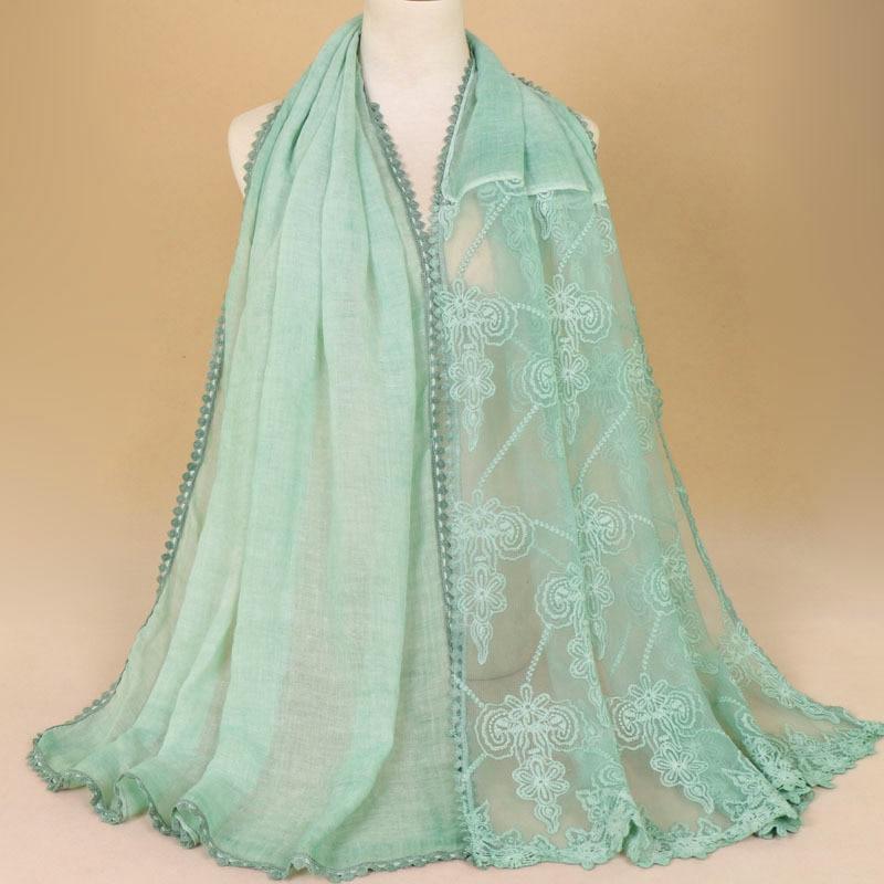 2018 Nouvelle Qualité Mode Dentelle Couture Couleur Unie Châles Viscose Coton Bulle Musulman Hijab Femme Pashmina Bandana écharpe Nouveau Design (En);