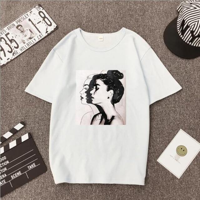 Girls Print Short Sleeve O Neck Cotton Spandex Top Slim Fit Soft T-shirt 4