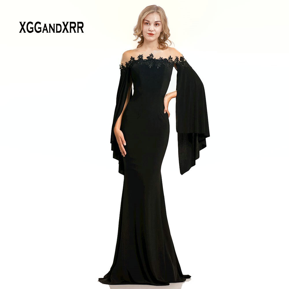 New Arrival Black Mermaid   Evening     Dress   2019 Long Sleeves vestido de festa longo Lace Applique Scoop Sweep Train Red Party Gown