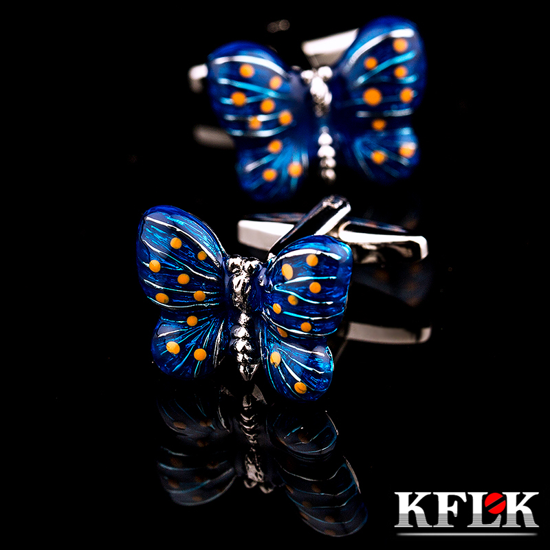 KFLK Cuff Links For Men's Shirts Cufflinks Animal Butterfly Cbutton High Quality Brand Buttons Fashion  Wedding Free Shipping