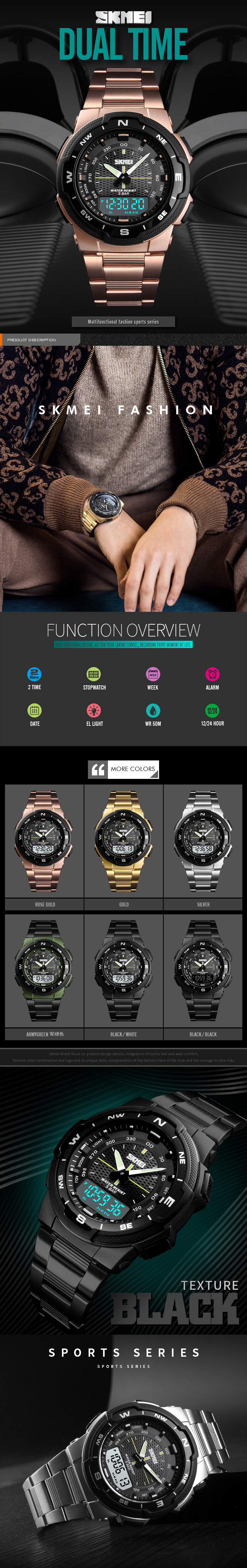 IsMyStore: Fashion SKMEI Brand Outdoor Sport Watch Men 50m Waterproof Digital Quartz Dual Time Military Sports Watches Climbing Swim Clock