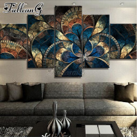 FULLCANG abstract mandala flowers diamond painting 5 pieces set full drill diy square/round mosaic embroidery rhinestone FC1540