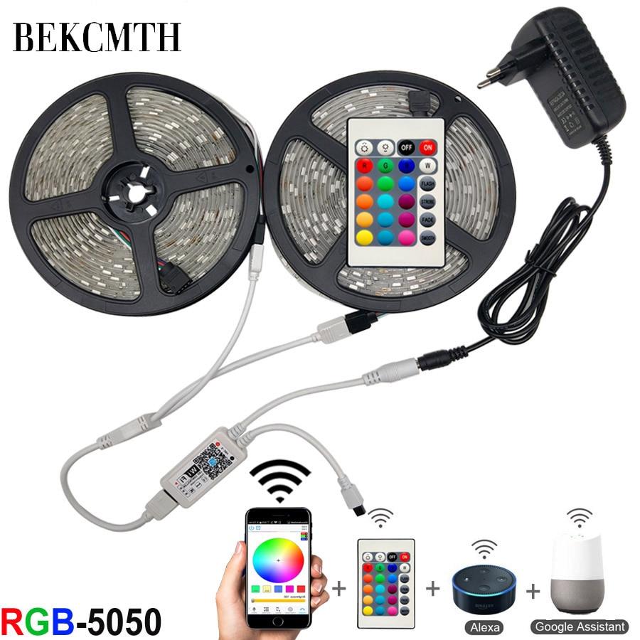 BEKCMTH 5m 10m 15m WiFi LED Strip Light RGB Waterproof SMD 5050 RGBW/RGBWW LED Strip Tape DC 12V+ Remote Control + Adapter EU