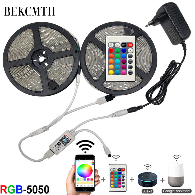 BEKCMTH 5m 10m 15m WiFi LED Strip Light RGB Waterproof SMD 5050 RGBW/RGBWW LED Strip Tape DC 12V+ Remote Control + Adapter EU