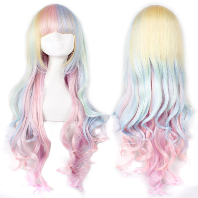 2016 new multi-colored gradient ice cream lolita wave long party cosplay costume wig,80cm .Free sipping