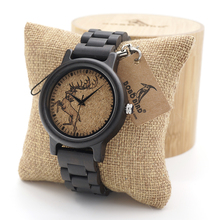 BOBO BIRD Ebony Wood Watches Lightweight Vintage Quartz Watches Mens wrist Watche as Gift Can Customized Logo in wood box
