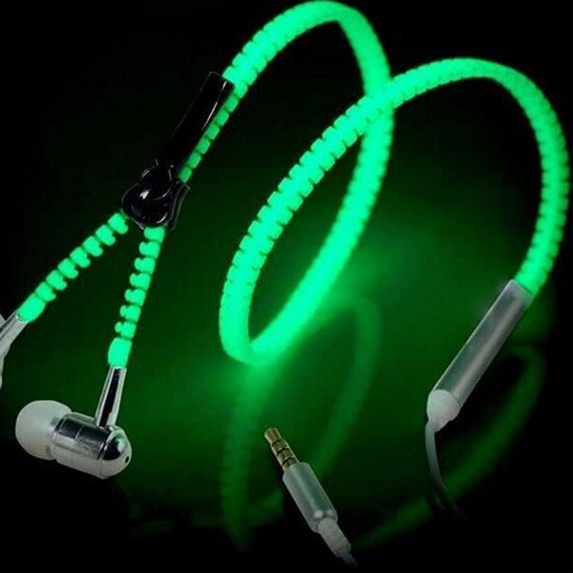 Good Cheap Glowing Earphone Luminous Metal Zipper Earbud Glow In Dark Earpiece For Iphone Samsung Xiaomi MP3 Earphones With Mic